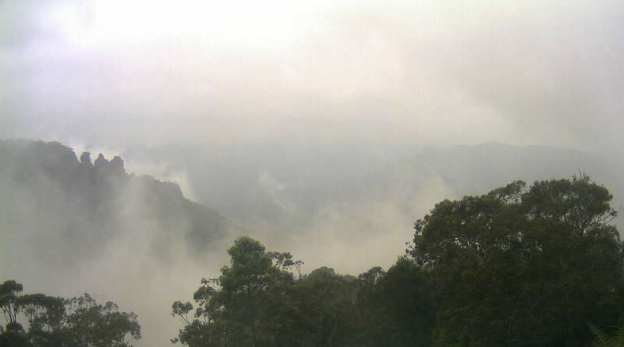 Mist around The Three Sisters, Blue Mountains, Australia. Reference photo for watercolor painting of mist.