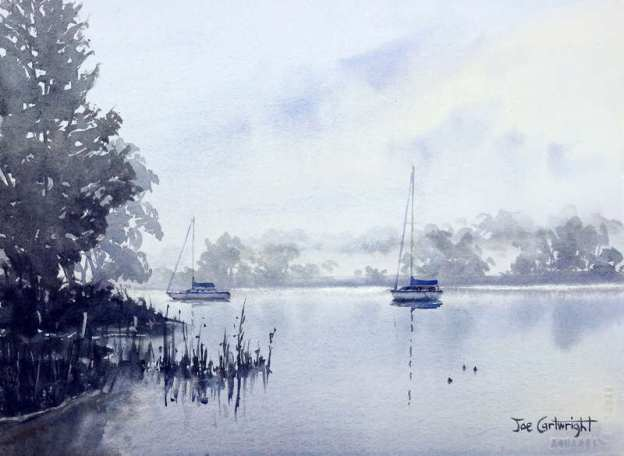 Watercolor painting – Foggy morning Clarence River