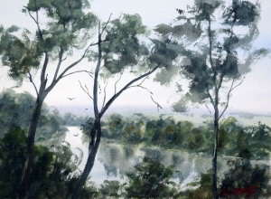 Hawkesbury River plein air watercolor painting