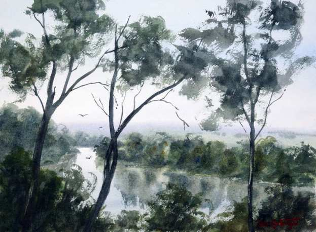 Plein air watercolor painting in cold weather