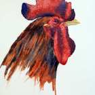 Rhode Island Red Rooster watercolor painting restricted washes