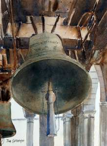 Watercolor paintng of Bell Tower of St Mark's Basilica in Venice by Joe Cartwright