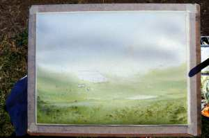 Under painting for plein air watercolor landscape painting