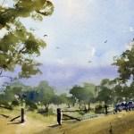 Australian watercolor landscape painting distant hill