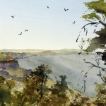 Blue Mountains Australia valley scene watercolour painting