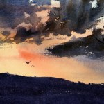 Country sunset watercolour painting