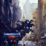 Morning light York Street Sydney watercolour painting