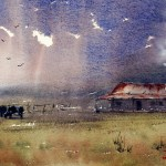 Old farm watercolour painting with storm cloud watercolor paintings category