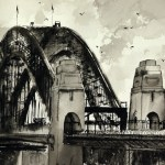 Sydney Harbor Bridge arches pen and ink wash drawing