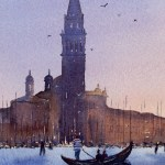 Venice blue sunset with gondola watercolour painting