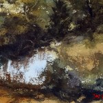 Water hole in creek bed watercolour painting