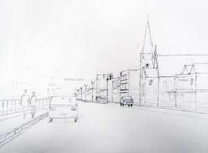 The drawing of the street scene prior to watercolour painting