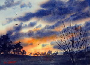 Dramatic sky painted with watercolor board kept flat to retain highlights