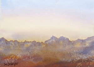 Easy watercolor painting of a mountain range using salt