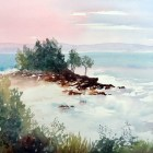 Coastal Seascape watercolor painting by Margaret Ng, new color scheme