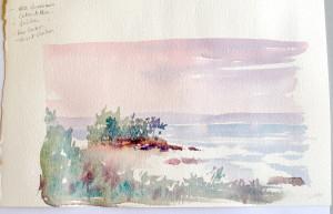 Seascape small watercolor sketch