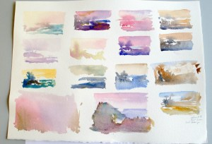 "Painting mood can be changed with color, watercolor swatches about 2"" x 3"""