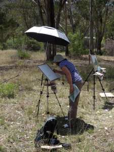 An umbrella can solve some plein air watercolor painting problems