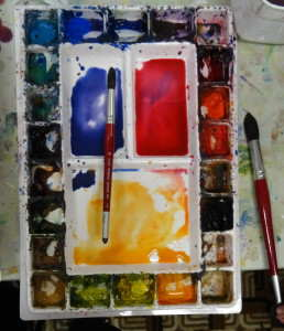 Photo of watercolor palette showing colors mixed before starting watercolor painting