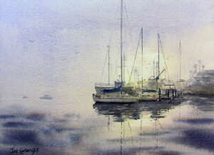 Image showing watercolor paper is pre-wet for this misty seascape