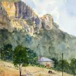 "For sale, watercolour painting titled - Capertee Valley Cliffs - Glen Davis 10.5"" x 14.5"" (27cm x 37cm) AUD$300"