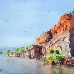 Watercolor painting for sale Title Ord River Cliffs $295 Unframed