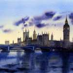 Watercolor painting Thames Sunset price AUD$600