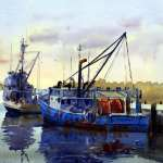 "Watercolour painting for sale titled ""Ulladulla Fishing Boats"" price AUD$600"