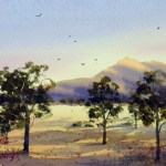 Watercolor painting for sale by Joe Cartwright. Titled Last Light West Macdonnell Ranges 2 Price AUD$300