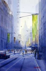 Watercolor painting by Joe Cartwright of George Street at Martin Place, Sydney