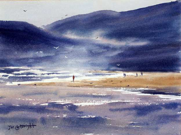 Watercolor painting of North Coast Sunset back of paper was thoroughly wetted