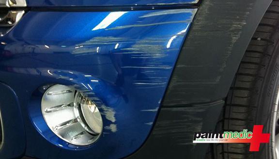 Paintmedic car bumper scuff before scratch repair