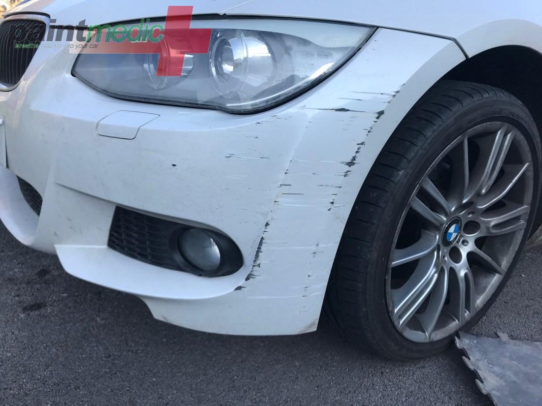Bumper scratch before Paintmedic repair