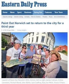 Paint Out Norwich set to return to the city for a third year, EDP, 19 July 2016