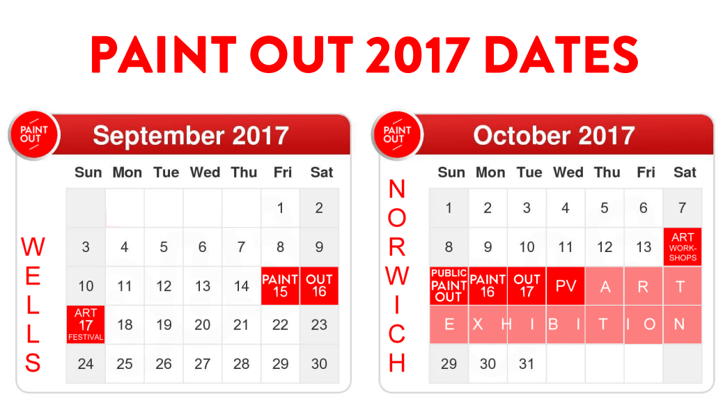 2017 Paint Out dates calendar