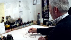 Chris Riddell Children's Laureate illustrator at work in studio