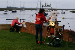 Karen Adams and Jenny Swann Homewood at Paint Out Wells dawn paintout photo by Katy Jon Went