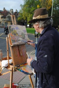 Paint Out Norwich 2014, Patrick Boswell in among the traffic