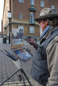 Artist Michael Richardson painting Norwich Forum Paint Out 22 Oct 2014