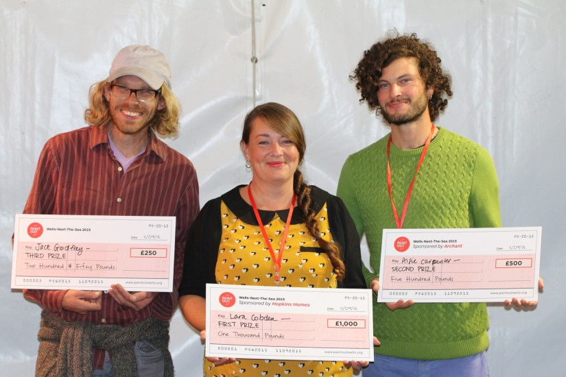 Paint Out Wells 2015 winners prize cheques Lara Cobden Alfie Carpenter Jack Godfrey