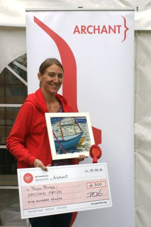 Second Prize at Paint Out Wells 2016 Tanya Pawsey 'Dancing Boats' - photo by Katy Jon Went