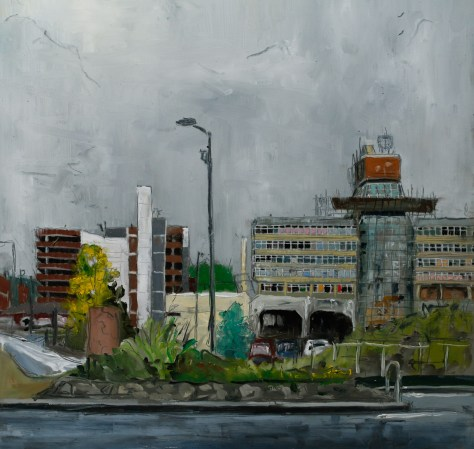 Artist Brian Korteling - Sovereign House 16x16 Oil on Board at Paint Out Norwich 2015 photo by Mark Ivan Benfield