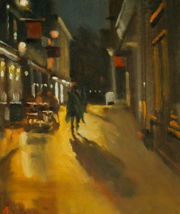 Artist Michael Richardson - Dove Street 12x10 Oil on Board at Paint Out Norwich 2015 photo by Mark Ivan Benfield