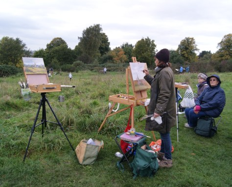 Artists painting on Mousehold Heath at Paint Out Norwich 2015