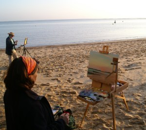 Karen Adams and Will Topley at Paint Out Wells Public Sunrise Art Event