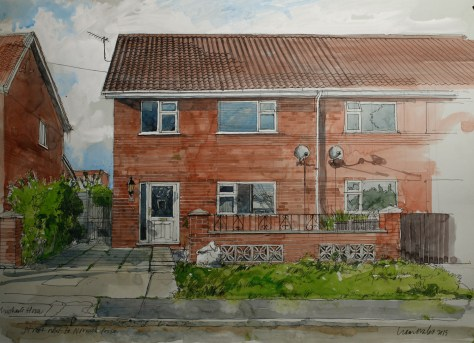 Artist Liam Wales - Michael's House 16x24 Ink, Watercolour & Charcoal on Paper at Paint Out Norwich 2015 photo by Mark Benfield