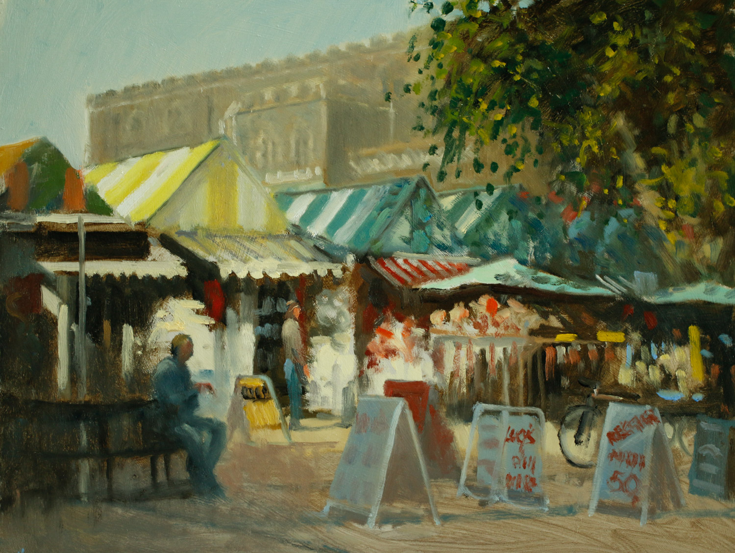Artist Michael Richardson - Early Light Norwich Market 16x20 Oil on Board at Paint Out Norwich 2015 photo by Mark Ivan Benfield