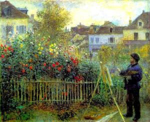 Monet painting in his garden at Argenteuil, Renoir, 1873