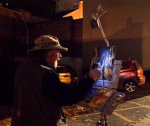 Winning Artist Michael Richardson painting a nocturne on Pottergate at Paint Out Norwich 2015