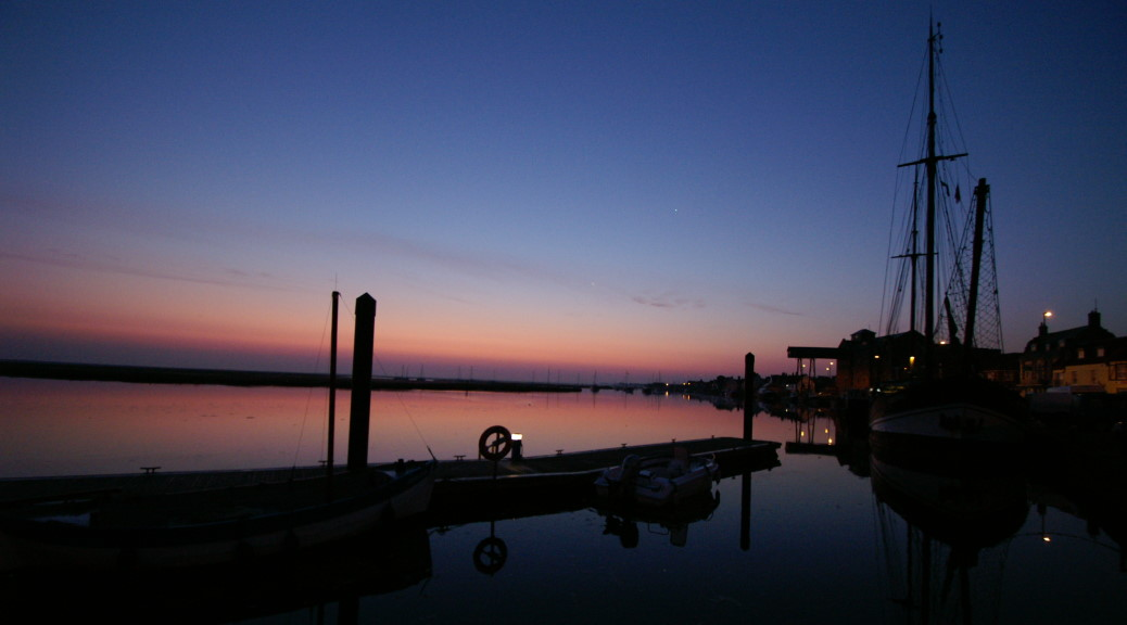 The Albatros and Well-next-the-Sea quayside at dawn sunrise, Paint Out Wells, Photo by Katy Jon Went